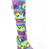 Tribal Purple Slouchy Wedge Boots Canvas