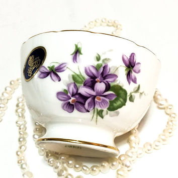 Aynsley Sugar Bowl, Wild Violets Pattern, Jewelry or Trinket Dish, Aynsley Replacement China, NOS, 1970s, Vintage China