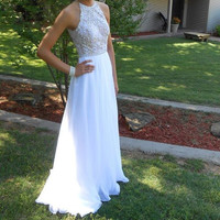 A-Line Prom Dresses,White Prom Dresses,Long Evening Dress