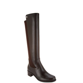 """As Is"" Marc Fisher Incept Wide Calf Dark Brown Leather Tall Boots"