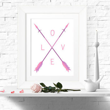 Valentine's Day LOVE Print Arrow Print Pastel Spring Printable Wall Art 8x10 Instant Download - LOVE Digital Print - Home Decor - Wall Decor