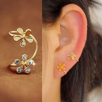 Double Golden Flowers Ear Cuff (Single, No Piercing) - LilyFair Jewelry