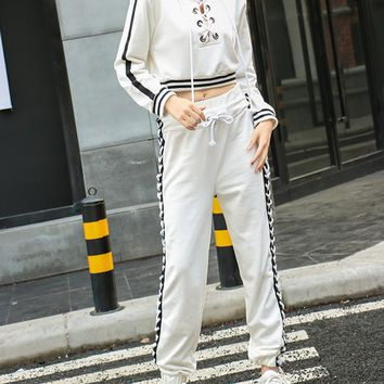 Women Personality Hollow Bandage Multicolor Long Sleeve Hooded Sweater Trousers Set Two-Piece Sportswear