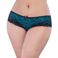 Cage Back Lace Panty Black-teal  1x-2x
