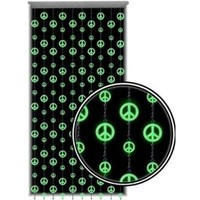 Beaded Curtain ~ Glow in the Dark ~ Peace Sign Door Beads ~ Fits Standard Door Ways