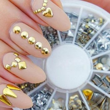 1 Set Nail Sticker and Decals Punk Rivet Nail Art Decoration Stickers Metallic Gold Studs Nail Tips DIY Gold Silver