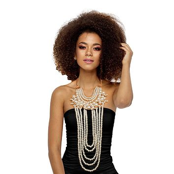 Layered Drape Pearl Necklace Set