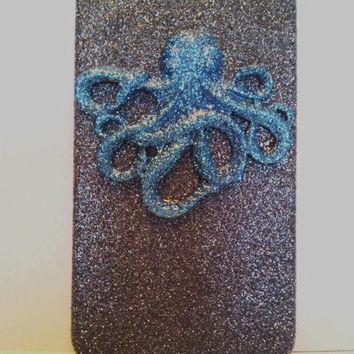 Blue Black Octopus Glitter Iphone 4 4s Hard Cover by kaylafenton