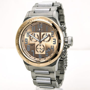 Invicta 15557 Men's Russian Diver Rose Gold Dial Steel Bracelet Chronograph Dive Watch