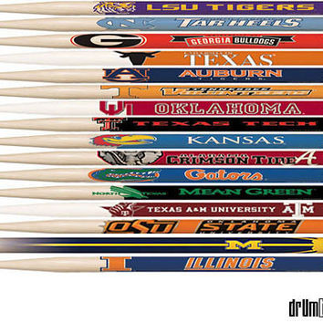 DRUM BUM: STICKS: College Emblem DrumSticks, College Logo, University Drum Sticks, Collectible Sticks