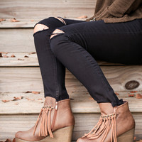 Zepp Wedge Fringe Boot, Tan (7, 7.5)