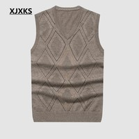 XJXKS Plus Size Men Sweaters Sleeveless Exquisite Workmanship Comfortable Oversized V-neck Pullovers Sweater A-56
