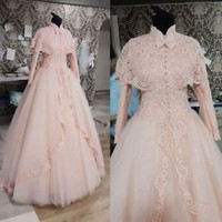 Blush Pink Vintage Wedding Dresses with Jacket Long Sleeves Bridal Dresses