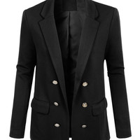 LE3NO Womens Textured Fully Lined Open Front Military Blazer Jacket (CLEARANCE)