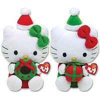 Hello Kitty TY Christmas Beanie Babies Festive Plush Dolls (Set of 2)
