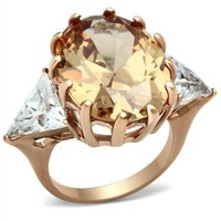 Rose Gold Champagne 12 Prong and 2 Clear Trillion Sides CZ Ring
