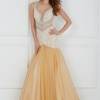 Angela and Alison 61096 Beaded Lace Trumpet Gown
