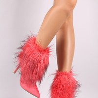 Faux Fur Shaft Pointy Toe Stiletto Ankle Boots
