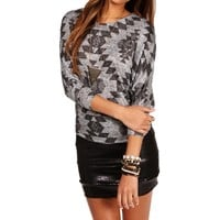 Heather GrayBlack Tribal Dolman Top