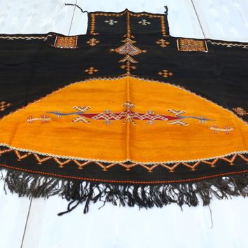 Old moroccan wool cape in black and yellow