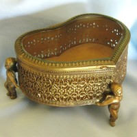 Vintage Heart-Shaped Jewelry/Trinket Box