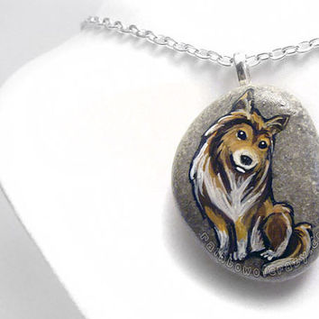 Rough Collie Necklace, Dog Portrait, Pet Jewelry, Art Pendant, Animal Painting, Sympathy Gift, Pet Loss, Hand Painted Rock, Beach Stone