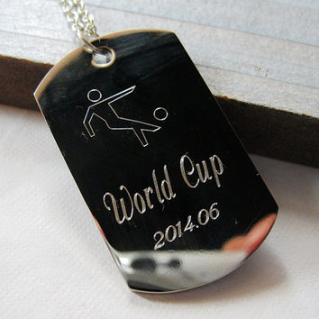 World Cup necklace 2014, Brazil world cup necklace, mens necklace stainless steel necklace, Personalized necklace engraved men, Anniversary