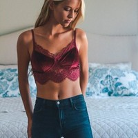 Wine Velvet And Lace Half Cami