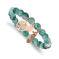 Stainless Steel Rose Gold Seahorse & Tree of Life Charm Green Jade Stretch Bracelet