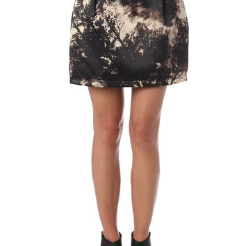 Q2 Printed Lantern Skirt In Satin