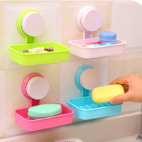 New Soap Dish Strong Suction Cup Wall Tray Holder Soap Storage Box For Bathroom Shower Tool
