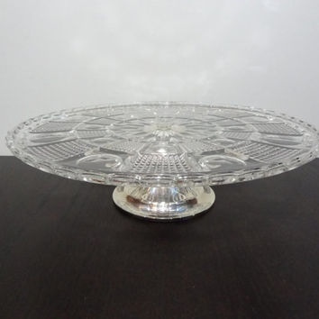 Vintage Pressed/Cut Glass Pedestal Cake Stand with Scalloped Edge and Silver Plated Pedestal/Stand