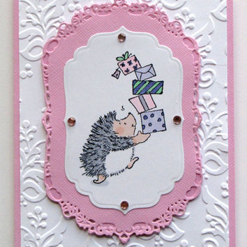 Hedgehog Birthday Card, Presents, Handmade, Birthday Greeting Card, Hand Stamped, cute, pink and white, embossed, hand colored.