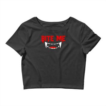 bite me halloween vampire teeth Crop Top