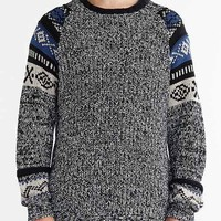 CPO Sleeve Pattern Crew Neck Sweater- Navy