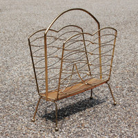 Mid Century Magazine Rack, Retro Gold Tone Metal and Wood Atomic Magazine Stand, Mad Men Era Album Storage, Dorm