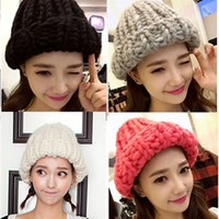 ONETOW 2015 Korean Thermal Thick Yarn Handmade Women Knitted Hat Winter Warm Slouch Beanie Caps Roll up