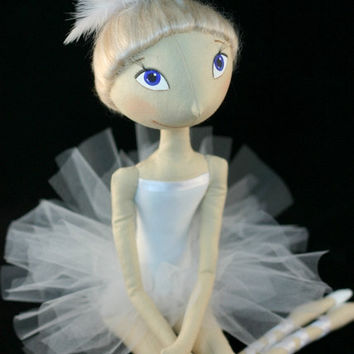 Cloth doll ballet dancer White Swan by FancyDolls on Etsy