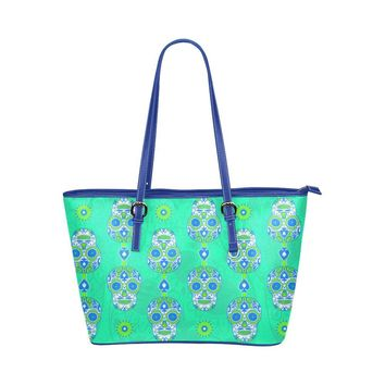 Hip Water Resistant Small Leather Tote Bags Sugar Skull #18 (5 colors)