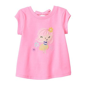 Jumping Beans Glitter Graphic Back Tie Tee - Baby Girl, Size: