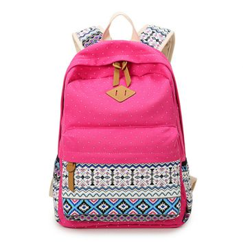 Sweet Ethnic Pattern Canvas Rucksack Backpack