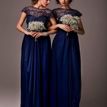 Hot Sale 2017 A-line High Collar Cap Sleeves Navy Blue Chiffon Long Bridesmaid Dresses Cheap Under 50 Wedding Party Dresses
