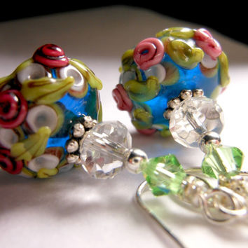 Cranberry Cottage Cabbage Rose Earrings Blue White Floral Lampwork Earrings Beadwork Earrings, Flower Glass Bead Earrings, Rose Cobalt