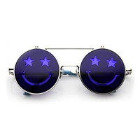 Novelty Party Happy Smiley Face Cut Out Flip Up Sunglasses 9639