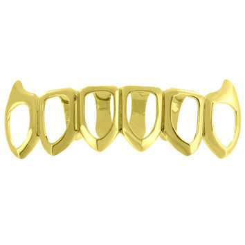Bottom Teeth Grillz Top Mouth Caps 14K Yellow Gold Finish