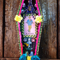 Day-of-the-Dead Decoration / El Bailarin Loteria Shrine / The Dancer Coffin Nicho / Dia De Los Muertos Miniature Altar / All Souls Day