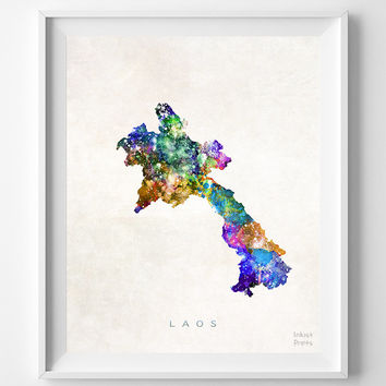 Laos Map, Asia, Print, Vientiane, Watercolor, Home Town, Poster, Country, Wall Decor, Painting, World, Living Room, Bed Room, Dorm, Gift