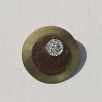 Round and round mixed metal brooch, fine silver, copper, brass, handmade, one of a kind, circles, mixed metals, modern, orbits, texture