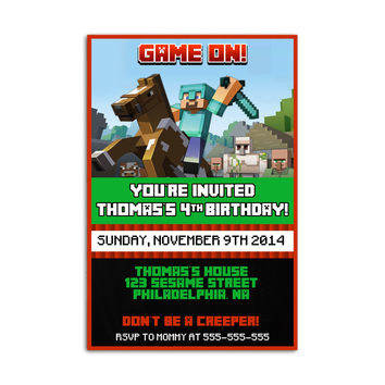 Minecraft Ride Horse Kids Birthday Invitation Party Design