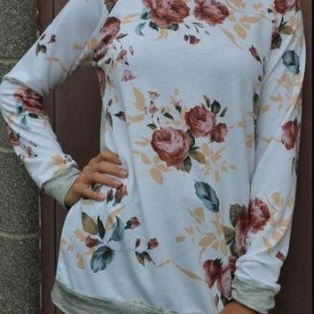 White Long-Sleeved Printed Floral Shirt